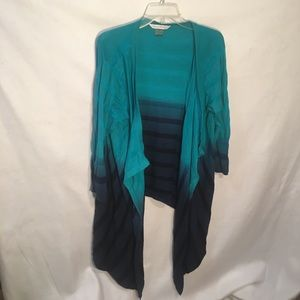 Peter Nygard Blue Striped Long Open Front Sweater